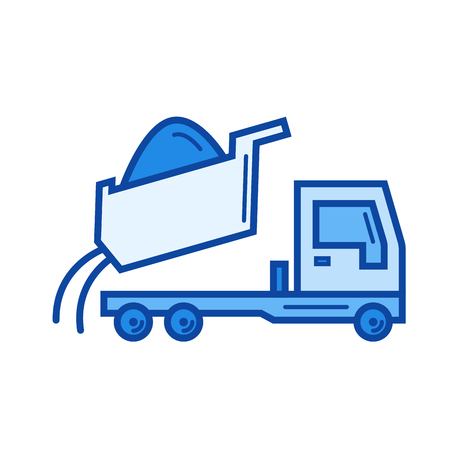 Dump truck vector line icon isolated on white background. Dump truck line icon for infographic, website or app. Blue icon designed on a grid system. Illustration