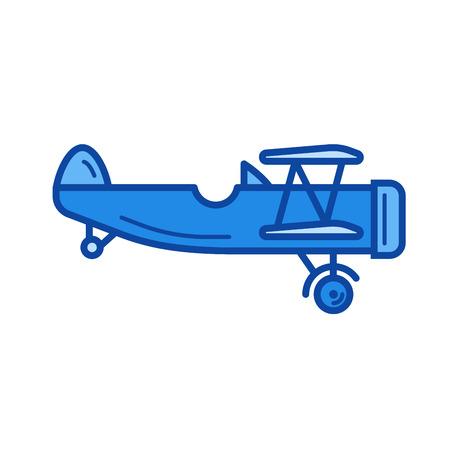 Vintage plane vector line icon isolated on white background. Vintage plane line icon for infographic, website or app. Blue icon designed on a grid system. Ilustração