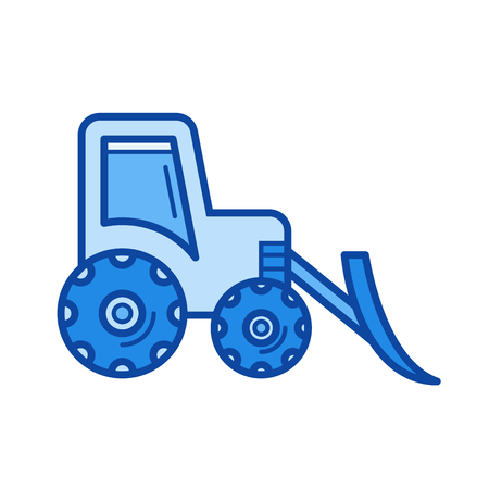 Front loader vector line icon isolated on white background. Front loader line icon for infographic, website or app. Blue icon designed on a grid system. Illustration
