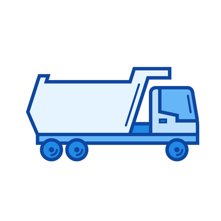 Tipper truck vector line icon isolated on white background. Tipper truck line icon for infographic, website or app. Blue icon designed on a grid system.