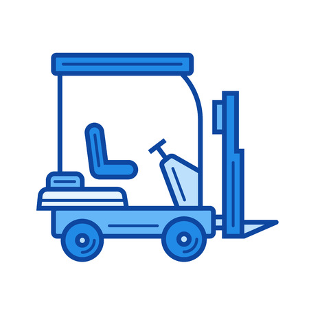 Forklift vector line icon isolated on white background. Forklift line icon for infographic, website or app. Blue icon designed on a grid system. Ilustracja