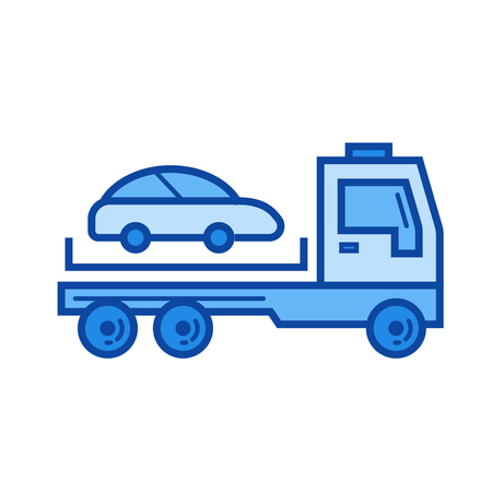 the wrecker: Tow truck vector line icon isolated on white background. Tow truck line icon for infographic, website or app. Blue icon designed on a grid system.
