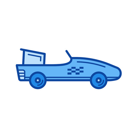 racing car vector line icon isolated on white background.   car line icon for infographic, website or app. Blue icon designed on a grid system. Illustration