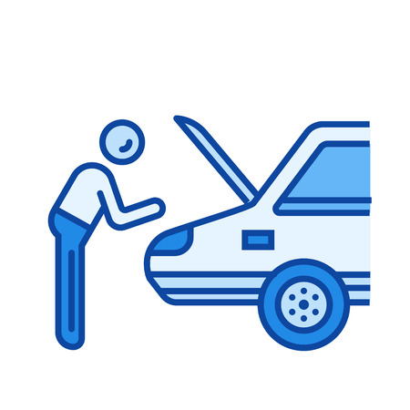 Car repair vector line icon isolated on white background. Car repair line icon for infographic, website or app. Blue icon designed on a grid system.