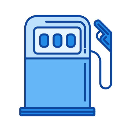 Gas station vector line icon isolated on white background. Gas station line icon for infographic, website or app. Blue icon designed on a grid system.