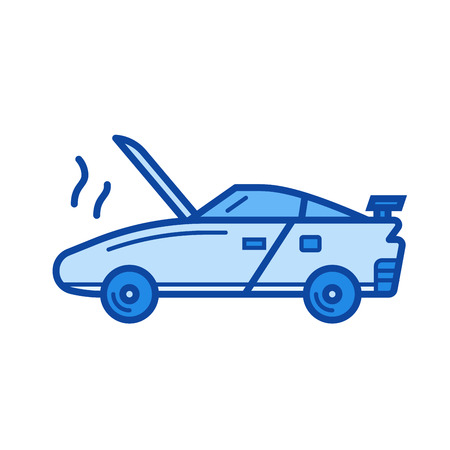Broken car vector line icon isolated on white background. Broken car line icon for infographic, website or app. Blue icon designed on a grid system. Illustration