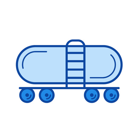 Railroad tank vector line icon isolated on white background. Railroad tank line icon for infographic, website or app. Blue icon designed on a grid system. Illustration