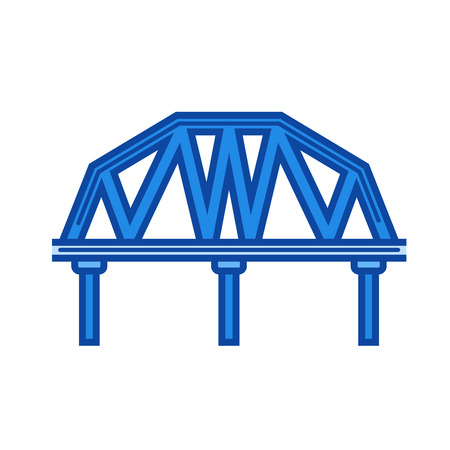 Railroad bridge vector line icon isolated on white background. Railroad bridge line icon for infographic, website or app. Blue icon designed on a grid system.