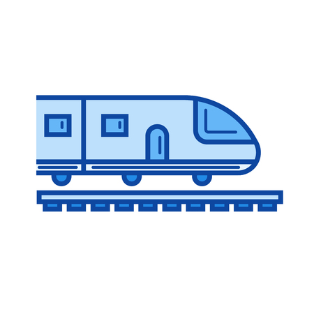 high speed rail: High speed train vector line icon isolated on white background. High speed train line icon for infographic, website or app. Blue icon designed on a grid system. Illustration
