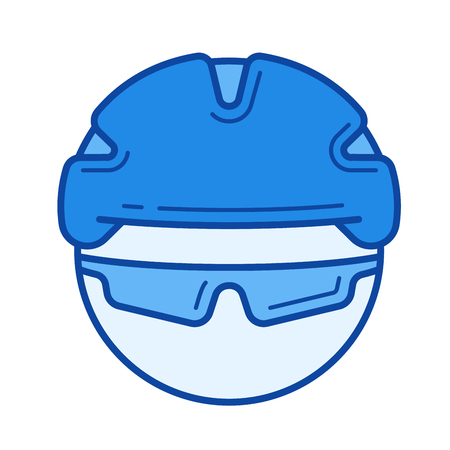 Bicycle helmet vector line icon isolated on white background. Bicycle helmet line icon for infographic, website or app. Blue icon designed on a grid system. Illustration