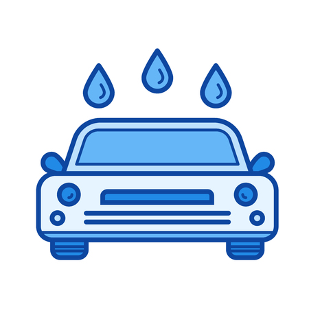 Car wash vector line icon isolated on white background. Car wash line icon for infographic, website or app. Blue icon designed on a grid system.