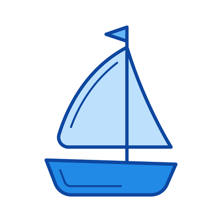 Sailing vessel vector line icon isolated on white background. Sailing vessel line icon for infographic, website or app. Blue icon designed on a grid system. Ilustracja