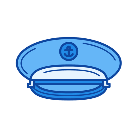 Captain hat vector line icon isolated on white background. Captain hat line icon for infographic, website or app. Blue icon designed on a grid system.