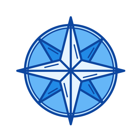 Nautical compass vector line icon isolated on white background. Nautical compass line icon for infographic, website or app. Blue icon designed on a grid system.