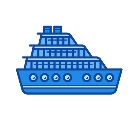 Cruise ship vector line icon isolated on white background. Cruise ship line icon for infographic, website or app. Blue icon designed on a grid system. 向量圖像