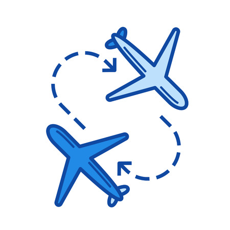 Airport transfer vector line icon isolated on white background. Airport transfer line icon for infographic, website or app. Blue icon designed on a grid system. Illustration