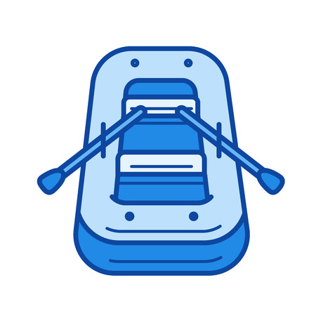 Rubber boat vector line icon isolated on white background. Rubber boat line icon for infographic, website or app. Blue icon designed on a grid system. Illustration