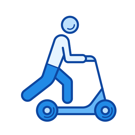 Push scooter vector line icon isolated on white background. Push scooter line icon for infographic, website or app. Blue icon designed on a grid system.
