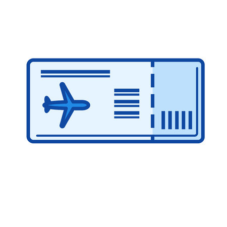 Boarding pass vector line icon isolated on white background. Boarding pass line icon for infographic, website or app. Blue icon designed on a grid system. Vettoriali