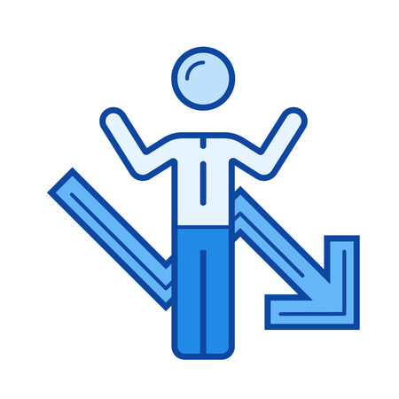 hysteria: Business failure vector line icon isolated on white background. XXX line icon for infographic, website or app. Blue icon designed on a grid system.