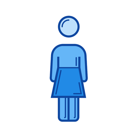 Company person vector line icon isolated on white background. Company person line icon for infographic, website or app. Blue icon designed on a grid system. Çizim
