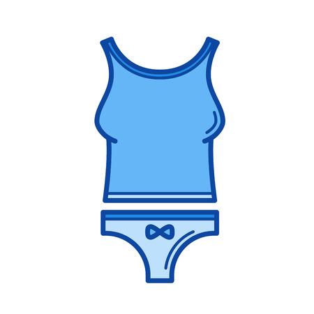 Vrouw ondergoed vector lijn pictogram geïsoleerd op een witte achtergrond. Vrouw ondergoed lijn pictogram voor infographic, website of app. Blauw pictogram ontworpen op een rastersysteem.