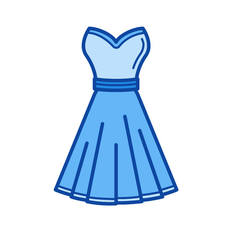 Dress vector line icon isolated on white background. Dress line icon for infographic, website or app. Blue icon designed on a grid system. Ilustração