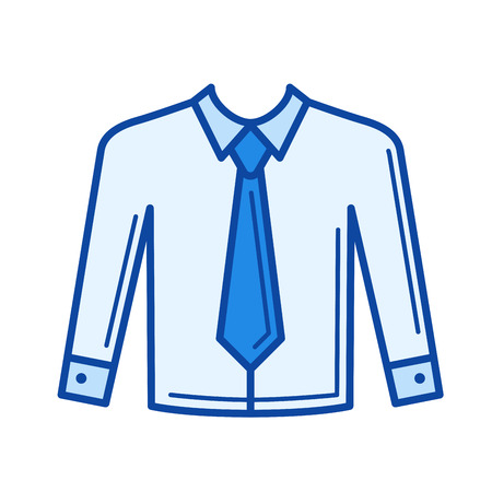 Necktie vector line icon isolated on white background. Necktie line icon for infographic, website or app. Blue icon designed on a grid system.