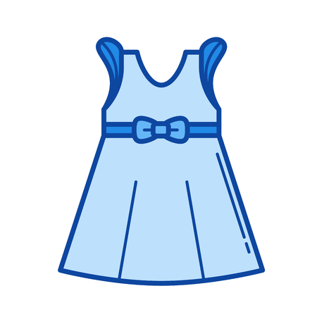 Little girl dress vector line icon isolated on white background. Little girl dress line icon for infographic, website or app. Blue icon designed on a grid system.