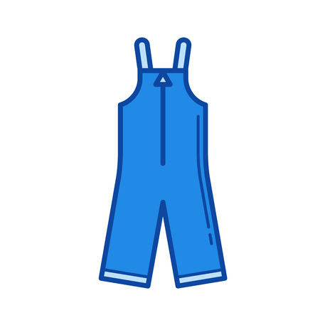 suspender: Baby apparel vector line icon isolated on white background. Baby apparel line icon for infographic, website or app. Blue icon designed on a grid system.