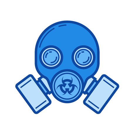Gas mask vector line icon isolated on white background. Gas mask line icon for infographic, website or app. Blue icon designed on a grid system.
