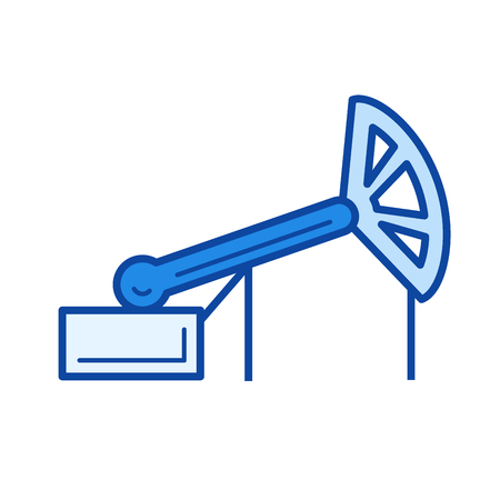 Oil production vector line icon isolated on white background. Oil production line icon for infographic, website or app. Blue icon designed on a grid system.  イラスト・ベクター素材