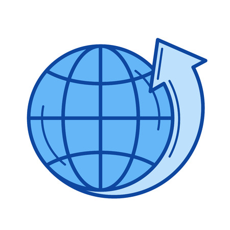 globe grid: Environmental protection vector line icon isolated on white background. Environmental protection line icon for infographic, website or app. Blue icon designed on a grid system.
