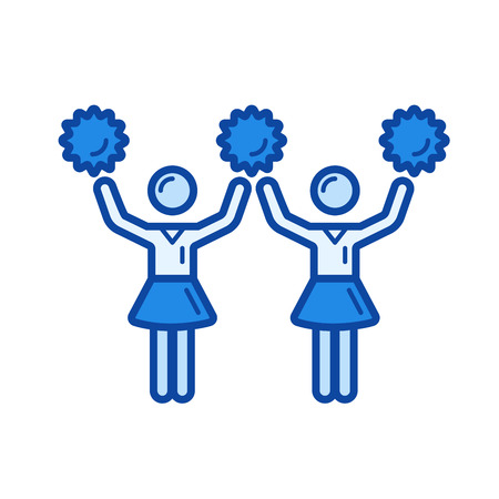 Cheerleading vector line icon isolated on white background. Cheerleading line icon for infographic, website or app. Blue icon designed on a grid system. Çizim