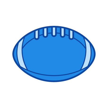 Rugby ball vector line icon isolated on white background. Rugby ball line icon for infographic, website or app. Blue icon designed on a grid system.