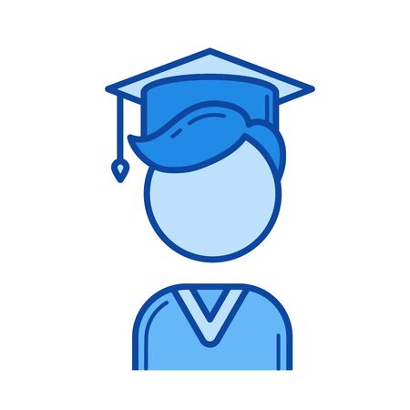 Graduate student vector line icon isolated on white background. Graduate student line icon for infographic, website or app. Blue icon designed on a grid system.