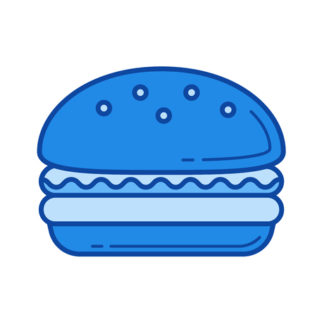 バーガー ベクトル線のアイコンが白い背景で隔離。インフォ グラフィック、ウェブサイトまたはアプリ青のバーガー ライン アイコン アイコンのグ  イラスト・ベクター素材