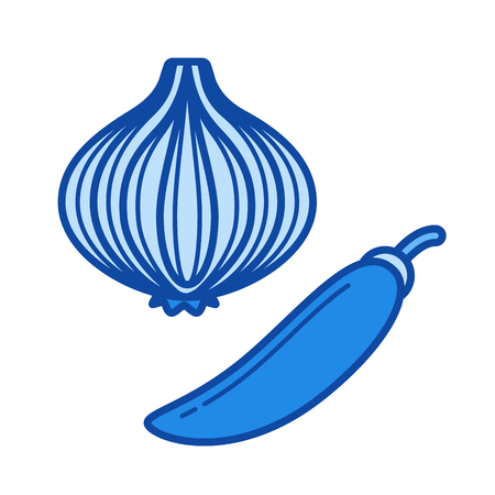 Chili and onion vector line icon isolated on white background. Chili and onion line icon for infographic, website or app. Blue icon designed on a grid system. 向量圖像