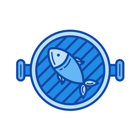 Fish grill vector line icon isolated on white background. Fish grill line icon for infographic, website or app. Blue icon designed on a grid system.