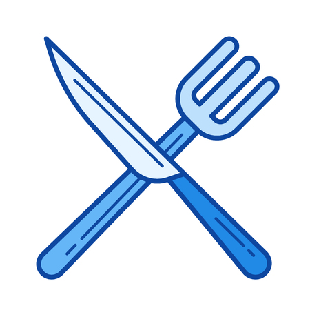 Cutlery vector line icon isolated on white background. Cutlery line icon for infographic, website or app. Blue icon designed on a grid system.