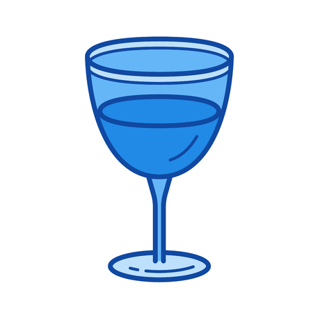 Wine glass vector line icon isolated on white background. Wine glass line icon for infographic, website or app. Blue icon designed on a grid system. Illustration