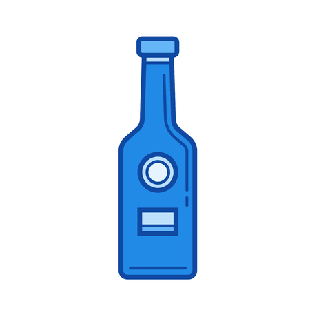 brandy: Craft beer bottle vector line icon isolated on white background. Craft beer bottle line icon for infographic, website or app. Blue icon designed on a grid system. Illustration