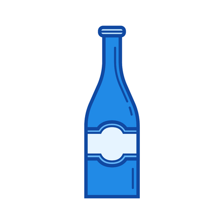 Beer bottle vector line icon isolated on white background. Beer bottle line icon for infographic, website or app. Blue icon designed on a grid system.