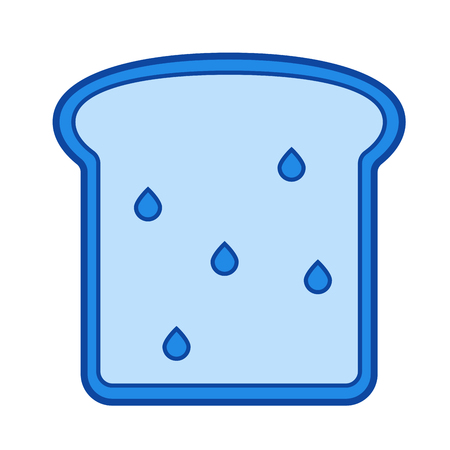 Whole wheat bread vector line icon isolated on white background. Blue icon designed on a grid system.