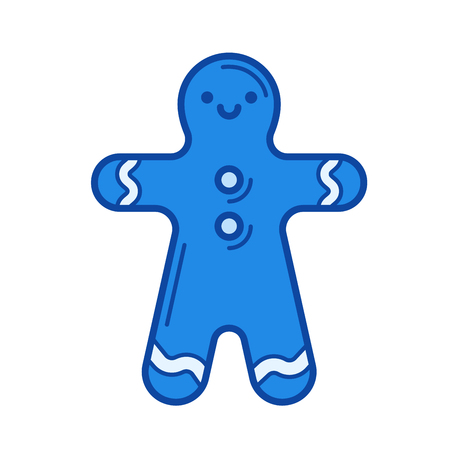 Gingerbread man vector line icon isolated on white background. Blue icon designed on a grid system.