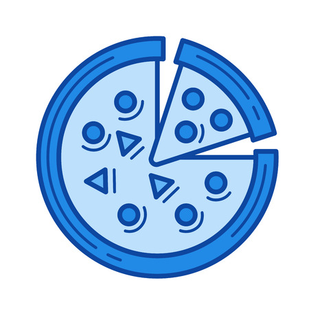 Italian pizza vector line icon isolated on white background. Blue icon designed on a grid system. Illustration