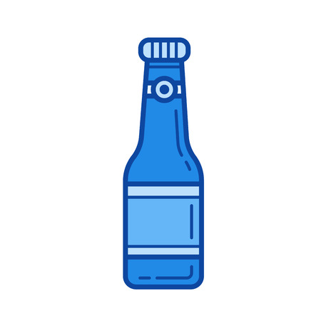 Soda bottle vector line icon isolated on white background. Blue icon designed on a grid system.