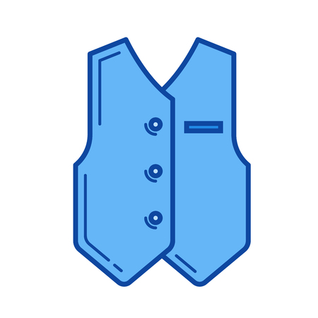 Groom clothing vector line icon isolated on white background. Groom clothing line icon for infographic, website or app. Blue icon designed on a grid system.