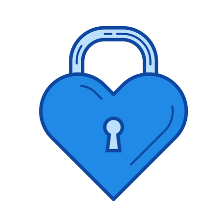 fastened: Heart lock vector line icon isolated on white background. Heart lock line icon for infographic, website or app. Blue icon designed on a grid system.
