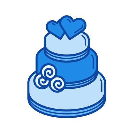 Wedding cake vector line icon isolated on white background. Wedding cake line icon for infographic, website or app. Blue icon designed on a grid system.